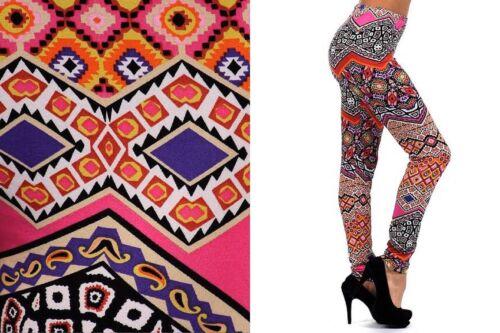 One Size Full Length Premium Stretch Fashion Leggings Cross Paisley Chevron