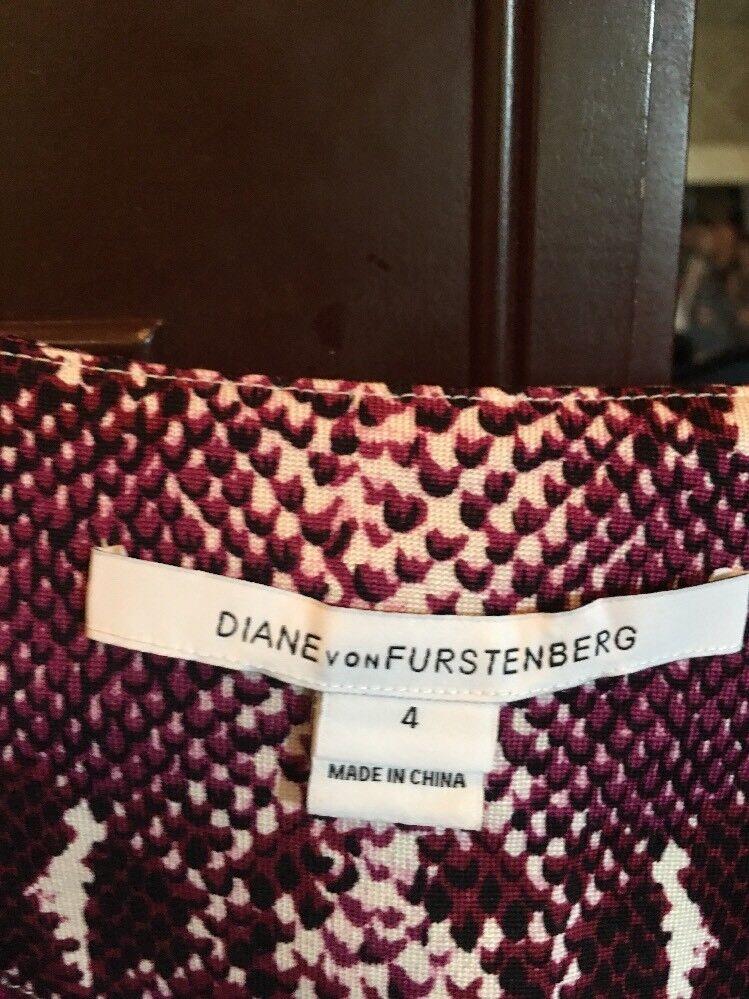 398 DianeVon Furstenberg Furstenberg Furstenberg Pink Snake Skin Print Jersey Silk Dress Sz 4 2547f1