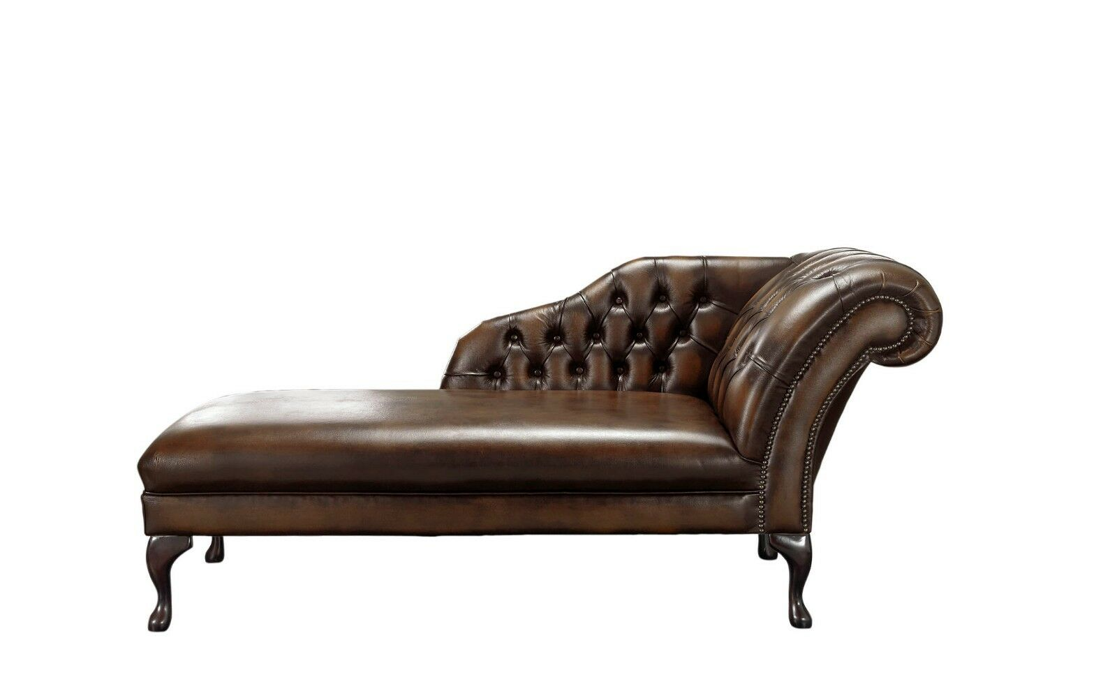 - Handmade Chesterfield Genuine Leather Chaise Lounge Day Bed