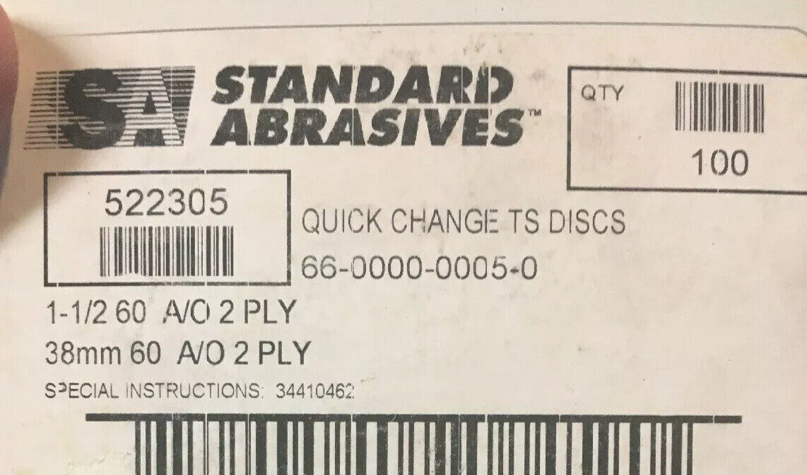 """STANDARD ABRASIVE 3/"""" DISC TS QC 80 GRIT X WEIGHT 2 PLY 522506 Box of 50"""