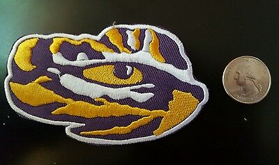 """LSU TIGERS vintage iron on embroidered patch 3.5/"""" x 3"""""""