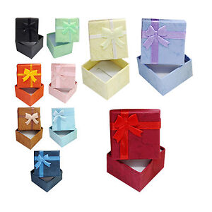24 Pcs Ring Earring Jewelry Display Gift Box Bowknot Square Case N3