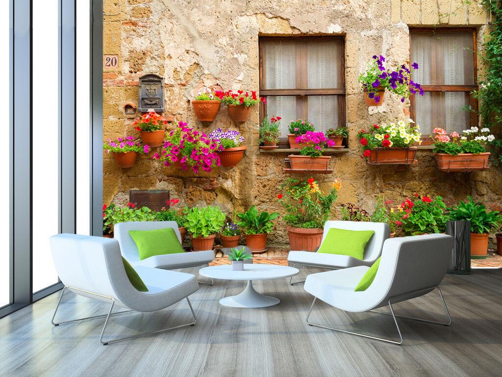 3D Window Flower Potted Plant 5 Wall Paper Wall Print Decal Wall AJ WALLPAPER CA