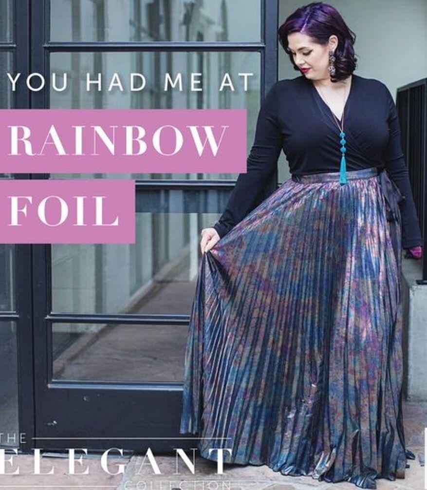Lularoe elegant Deanne Valentines klänning 2X XXL MERMAID OIL klänning RANBOW FOIL