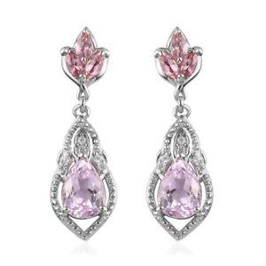 925 Sterling Silver Kunzite Pink Tourmaline Drop Dangle Earrings Gift Ct 3.8