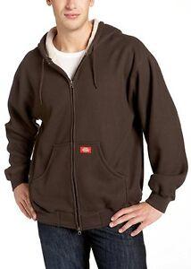 Dickies-Bonded-Waffle-Knit-Heavyweight-Hoodie-Jacket-Dark-Brown-Men-039-s-Medium