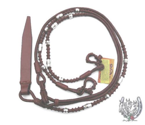 Romel Reins Medium Chestnut - Rust color - Hand Braided Silver Ferrule