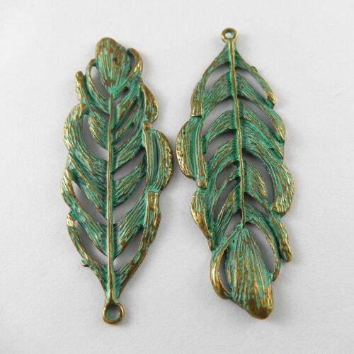 10pcs Antiqued Style Hollow Green Big Leaf Look Jewelry Charms Pendant Crafts