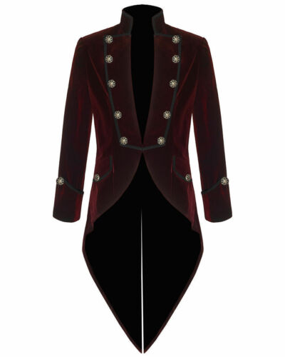 All Sizes Mens Steam punk VTG Gothic Velvet Tailcoat Red Swallowtail Jacket