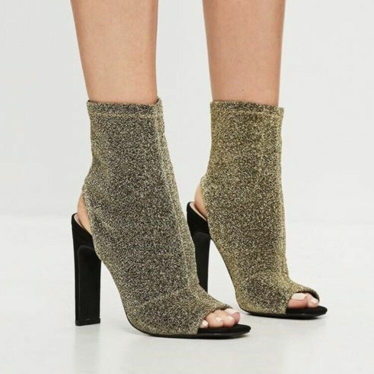 gold Shimmer Peep Toe Ankle Boots Sexy Ladies Party shoes