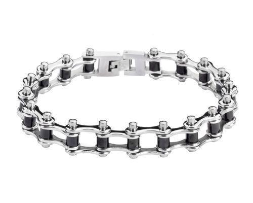 Biker Stainless Steel Silver Black Bike Chain Bracelet USA Seller!