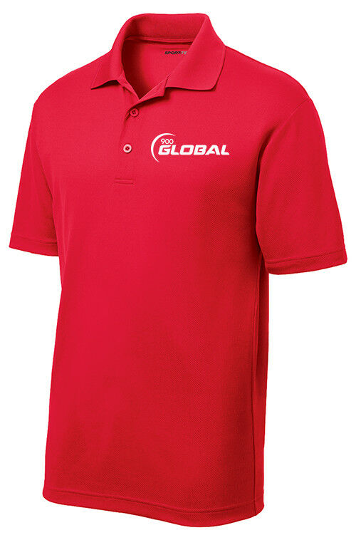 900 Global Men's Badger Performance Polo Bowling Shirt Dri-Fit Red
