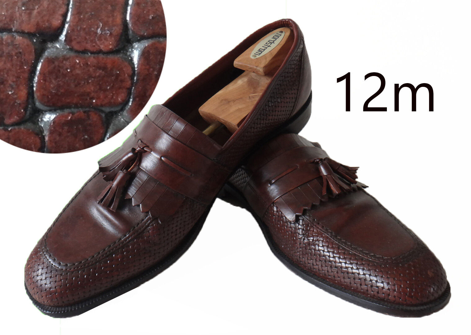 Bostonian basket weave woven tassel loafer fringe 12m brown leather SOLE