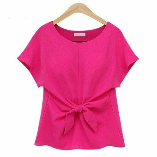 Loose Fashion Floral Jumper Short Sleeve Casual Top Pullover New O Neck V Neck