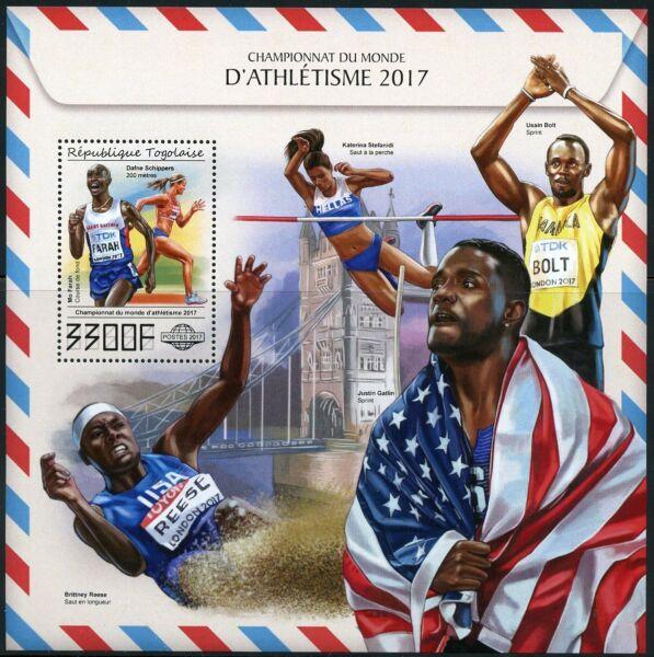 Humble Togo 2017 World Champion Athlets Bolt, Reese, Gatlin, Farah Souvenir Sheet Mint