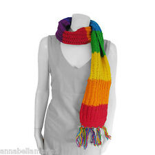 SIESTA fair trade EXTRA LONG hippy RAINBOW stripe CHUNKY knit WOOL scarf BNWOT