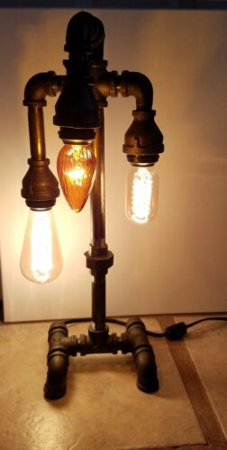 3 bulb Lamp steampunk home decor,lights Handcrafted Industrial Pipe Desk,Table