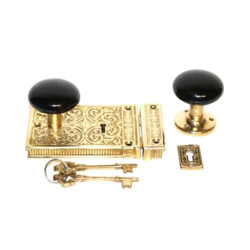 Victorian Solid Brass Rim Lock W Black Porcelain knobs Vintage Style