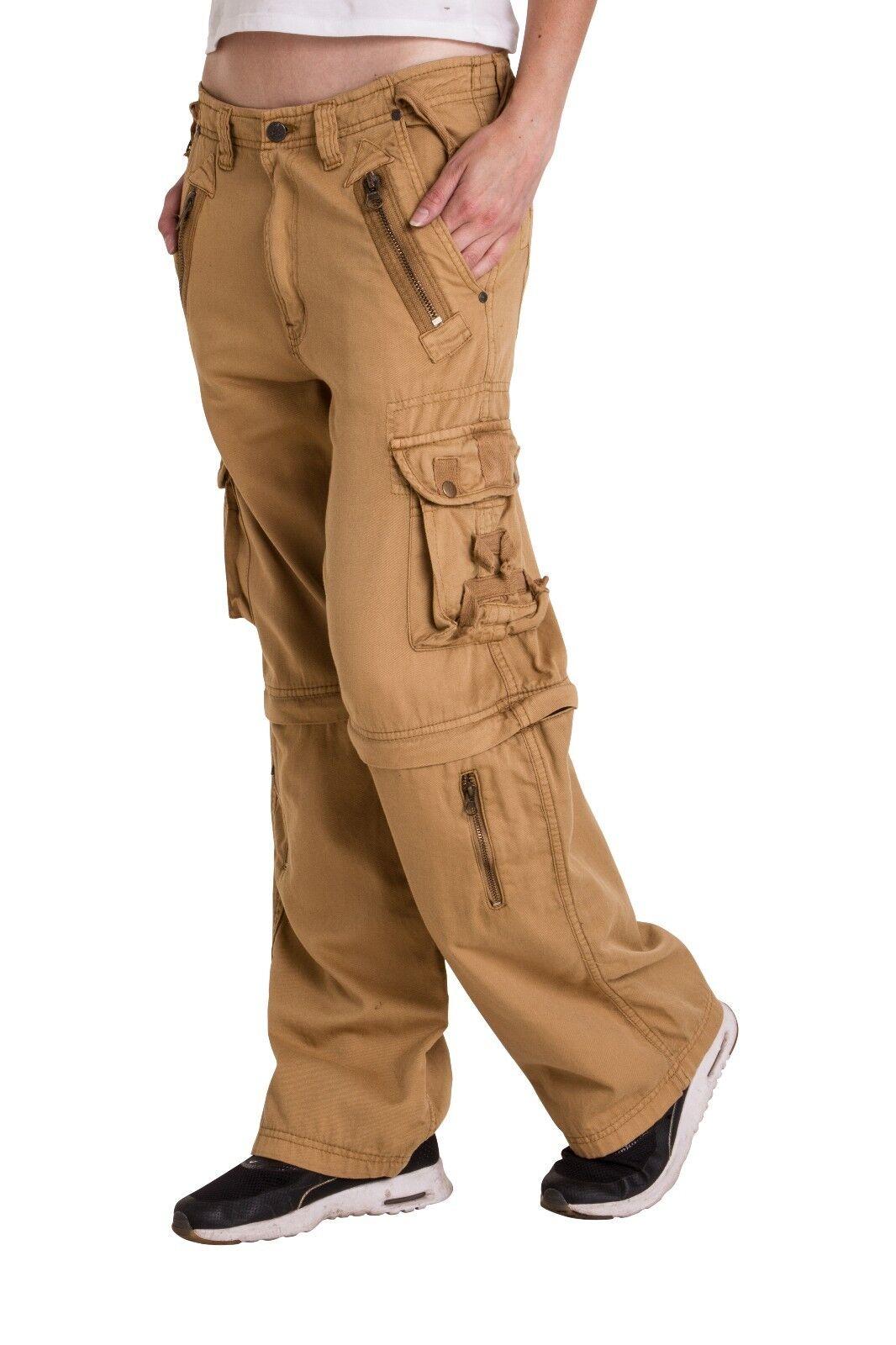 Pantalones Para Mujer Zip Off Convertible Varios Bolsillos Cargo Pantalones Senoras Ejercito Casual Control Ar Com Ar