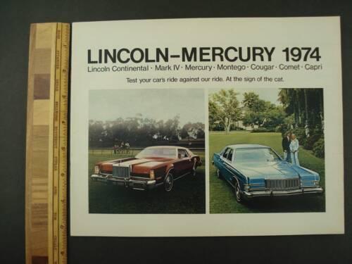 1974 Mercury Lincoln Continental 32-page Sales Brochure Mark VI Cougar Capri