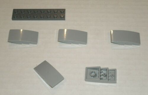 5x LEGO NEW 2x4 Light Bluish Grey Slope Curved 4622742 Brick 93606
