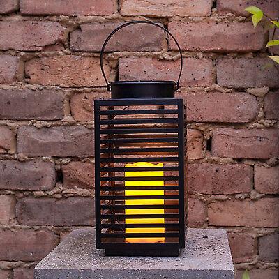 Solar Powered Black Metal Outdoor LED Candle Lantern For Garden & Patio 30.5cm