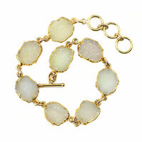 White Drusy Bracelet 14k Gold Filled 7 8 Inch Adjustable Fine Druzy Chain Link