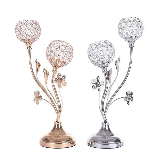 2 Crystal Candle Holders Wedding Decor