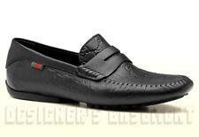 GUCCI mens 11G Black GUCCISSIMA leather Web SAN MARINO Drivers shoes NIB Authent