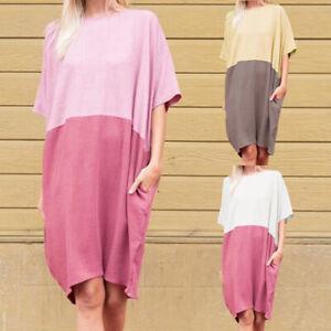 Fashion-Women-Batwing-Sleeve-Plain-Patchwork-Casual-Long-T-Shirt-Dress-Oversized