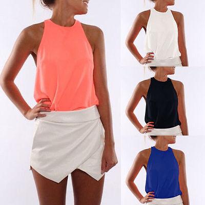 Womens Ladies Summer Casual Sleeveless Chiffon Tee Vest T Shirt Blouse Loose Top
