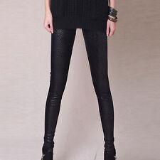 Ladies Womens Leather Look Leggings Jeggings High Waist Stretchy Trousers Black