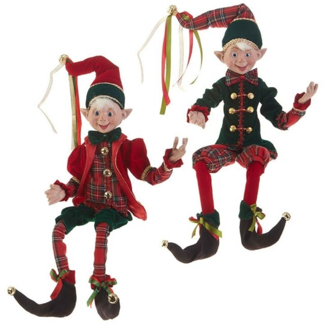 Christmas Elf.Set Of 2 Christmas Elf Posable 30 Elves Doll Raz Imports Red Green Plaid Tiding