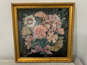 Vintage-Antique-Signed-BAS-Needlepoint-w-Flowers-amp-Butterfly-Marked-Pink