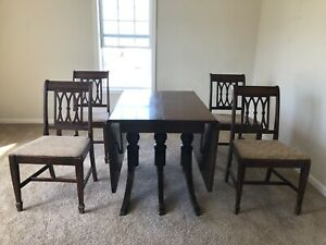 Details About Mahogany Drop Leaf Dining Table With 6 Chairs 1930 S Duncan Phyfe Antique