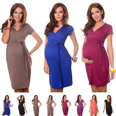 New MATERNITY COCKTAIL DRESS V-Neck Pregnancy Clothing Wear Size 8 10 12 14 5416