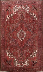 Excellent Vintage Geometric Traditional Area Rug Hand-Knotted Wool Carpet 8x12