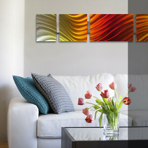 Modern Metal Wall Art Sculpture Abstract Panels Set Home ...