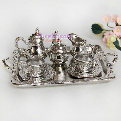 Tableware Tea Set/Coffee Set Metal 8 PCS For 1/12 Scale Dollhouse DM002C