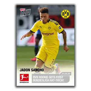 Jadon Sancho 2020 Bundesliga Topps Now Card 165 Bvb Dortmund Rookie 31 05 20 Ebay