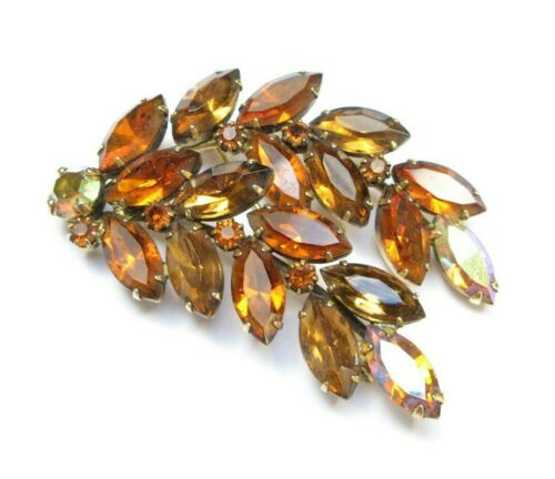 Autumn Winter Vintage Costume Jewelry Clear Crystal Rhinestones Fall Leaves Brooch Signed by PELL