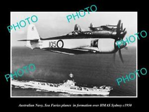 OLD-POSTCARD-SIZE-PHOTO-AUSTRALIAN-NAVY-SEA-FURIES-PLANES-amp-HMAS-SYDNEY-c1950