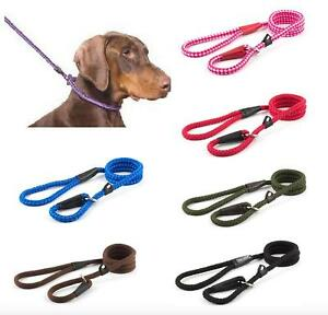 Ancol-Gundog-Strong-Nylon-Slip-Rope-Dog-Lead-Red-Black-Blue-Pink-Green-Brown