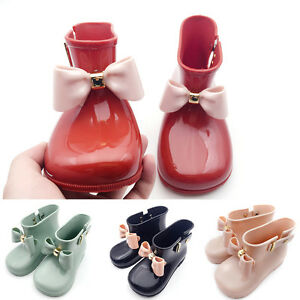Cute Toddler Baby Kids Girls Jelly Candy Color Bow Shoes Mid Calf Rain Boots Hot