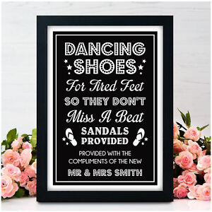 2b8dbd195 Image is loading PERSONALISED-Wedding-Dancing-Shoes-Signs-Flip-Flop-Tired-