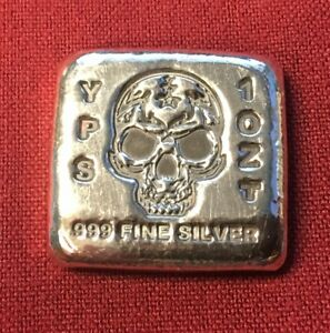 1-oz-Hand-Poured-999-Silver-Bullion-034-Skull-Bar-034-by-YPS-Yeager-039-s-Poured-Silver