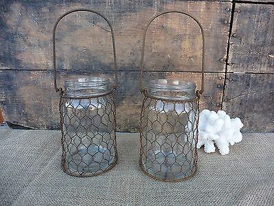 Small Glass Jar with Rust Chicken Wire Hanger  Mason Jar Tea Light Candle Holder