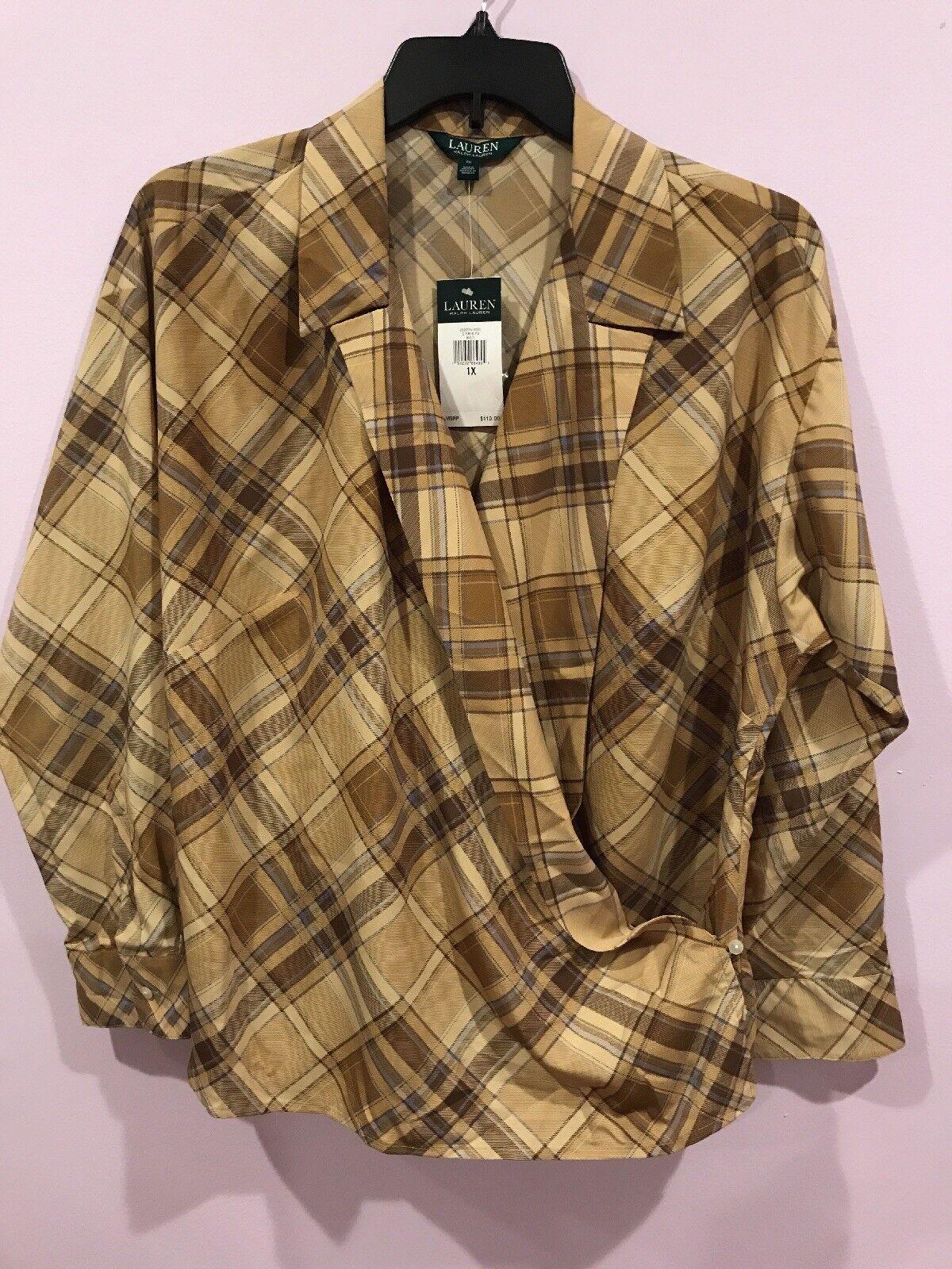 Lauren Ralph Lauren Plus 1X braun Multi Plaid Crepe Wrap Shirt v neck msrp