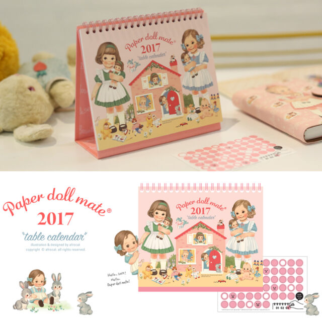 Afrocat Paper Doll Mate Table Calendar 2017 Diary Memo Schedule Deco Small Size