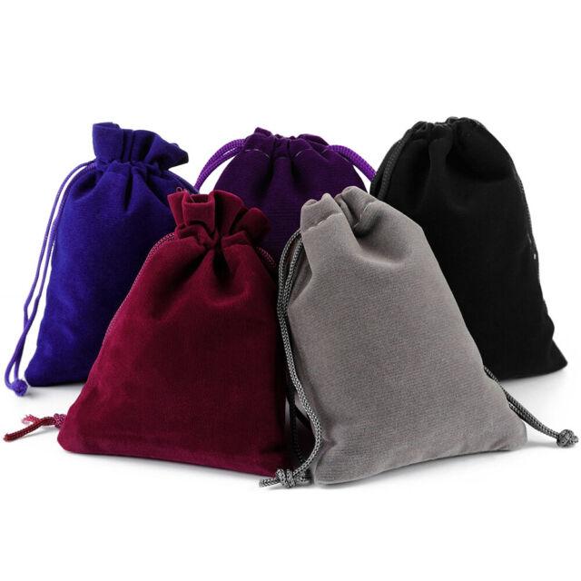 10//50//100pcs Black Velvet Velour Drawstring Ring Pouch Wedding Gift Jewelry Bags